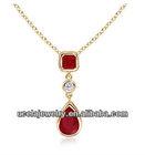 Emerald Cut, Pear Ruby and Diamond Dangling Pendant saudi 14k gold jewelry