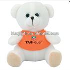 Plush teddy bear stuffed toy in orange T-shirt for wholesale