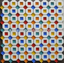 orange color glass mix plastic mosaic tile building material