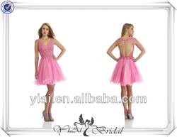 QQ590 Backless short pink deep v-neck cocktail dress designer one piece party dress