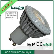 High Luminous 6W COB GU10 LED Spotlight equal to 50W