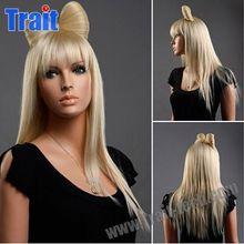 Wholesale Vogue Kanekalon Fiber Bowknot Blonde Long Straight Lady Gaga Hair Bow wig with Bowknot