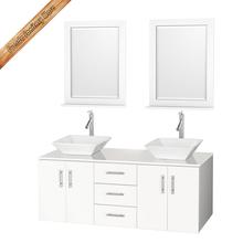white double sink wall mounted homebase bathroom cabinet