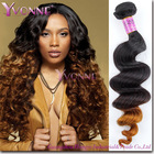 two color virgin brazilian hair extension loose wave ombre hair extension