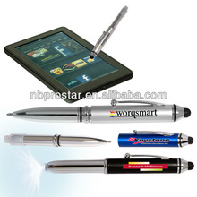 3-in-1 stylus metal ballpoint pen & LED flashlight,Best selling stylus promotion pen for resistive screen