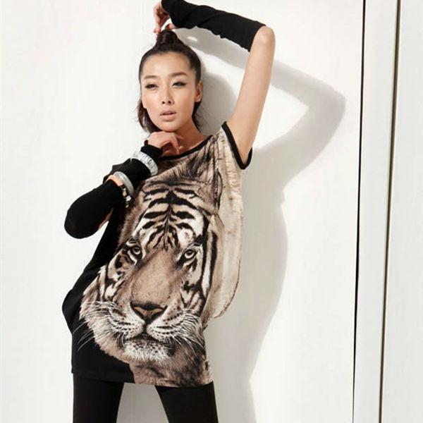 Girls T Shirts Casual Tiger Printed Long LOOSE T Shirt ASYMMETRIC