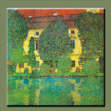 Famous painter Gustav Klimt works Ate Xi lakeside landscape painting reproductions