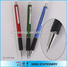 chrome tip rubber grip palstic ball pen
