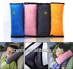 Car travel pillow children plush or velvet nap neck support plain dyed seat belt pillow crochet with piping
