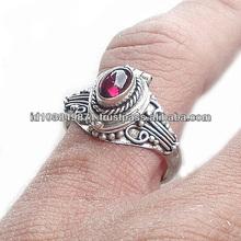925 Bali design sterling silver poison / pillbox garnet cabochon ring (RG14002-GC)