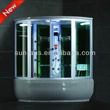 Hot sale curved sliding glass steam shower whirlpool bath