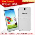 Yeni varış 6.0 inç hd ekran haipai h868 mtk6589 dört temel uluslararası kargo cep telefonu