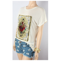 Rose Print Jersey T Shirt Women White Tee Shirts Embroidered