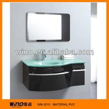 Hanging Glass Sink Vanity Units Modern Blue Bathroom Glass Basin
