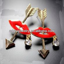 Wholesale Fashion Accessory Angel Arrow Sexy Lip Rhinestone Earring
