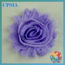 romantic lavender shabby rose flower head 2.3 inch Flower Chiffon Shabby Chic flower Decoration