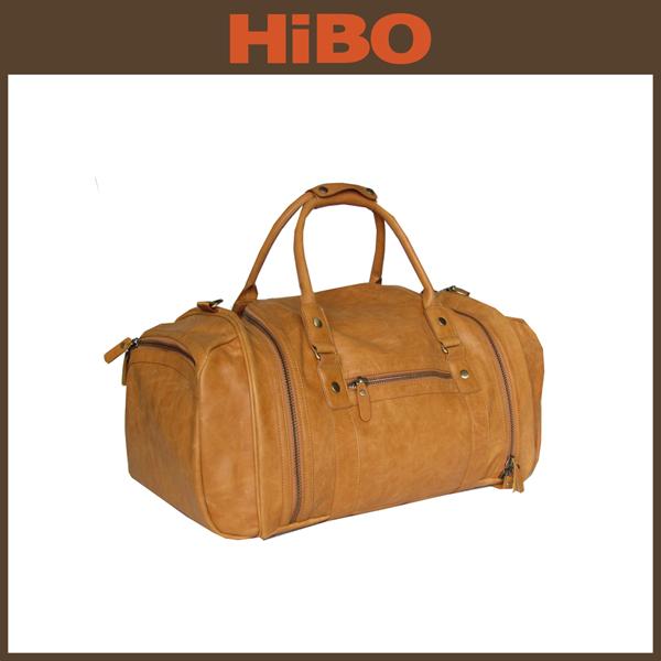 2014 fashion genuine leather weekend easy travel bag