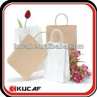Brown Kraft Paper Shopping Bag With Ribbon Handle