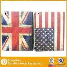 USA UK flag pu leather case for ipad mini,for apple ipad mini leather cover