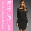 Parley Ponte Black Mesh Lace Fitted Dress