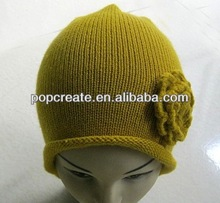 Knitted children hat with flower