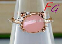 RI-US-0183 copper diamond ring cat cabochon natural opal raw opals