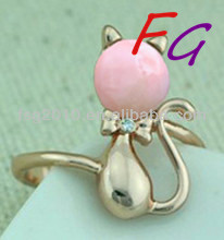 RI-US-0156 925 sterling silver rings cat aaa quality pink opal
