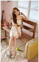 Japan and South Korea 2014 new summer Korean women romantic lace strapless chiffon dress spring dress with belt