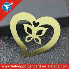free design shape metal crafts bookmarks for wedding souvenir heart brass bookmark