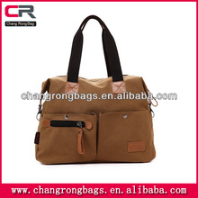 Retro Briefcase canvas bag with muli-functional pockets ,handmade leather bag for men