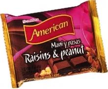 RAISINS AND PEANUTS MILK CHOCOLATE BAR . 100 gr.