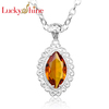 gemstone 925 silver Brazilian Citrine store crystal pendants Jewelry sets Charms chain necklace LKP0607 wholesale scalar energy