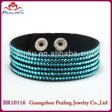adjustable high class blue crystal stud leather bracelet