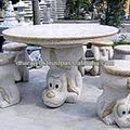 escultura em granito mesa de jantar redonda conjunto