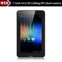 7 inch phone calling tablet Allwinner a13 dual camera, bluetooth, wifi,cell phone tablet