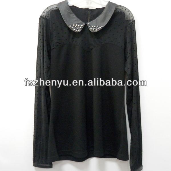 neueste lässige kleidung designs schwarz weiße blusen 2014