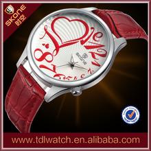 leather strap watch, promotional fashion lady watches quartz watch movement