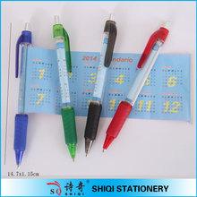 Professional retractable soft grip banner pen with calendar