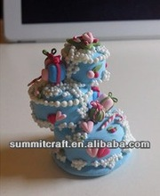 Blue three mini cake handmade christmas decorations polymer clay