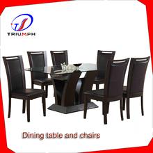 6 unid mármol superior juego de comedor, Comedor de imitación de mármol mesa / de lujo mesa de comedor y sillas y aparadores / mesa de café