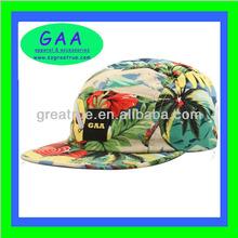 Popular 100% cotton floral print tropical hat 5 panel hawaii print snapback hat