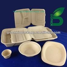 biodegradable Sugarcane Pulp disposable bento box