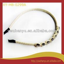 fashion hair accessories thin pu wrapped diamond hair band