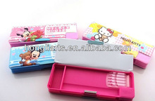 Double layer pencil case with sharpener/ fancy pencil box/cool pencil box HT1025