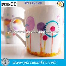 white stoneware handpainted mug with custom design for promotions
