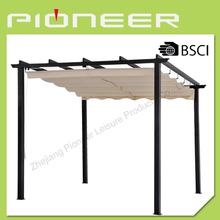 Flat roof metal gazebo for garden
