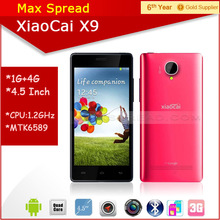 Hot sales!! 5 inch Screen MTK6582 quad core dual sim dual camear Xiaocai X9 multi color android smart mobile phone