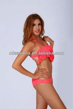 2014 latest watermelon red fashion tassels bandeau shiny sexy beachwear/bikini