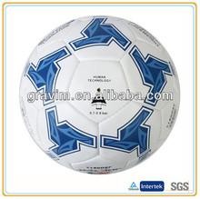 white ball with blue printing logo PVC cheap soccer ball