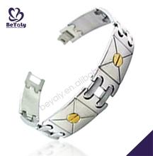 Two tone shiny polish male titanium uv detector bracelet